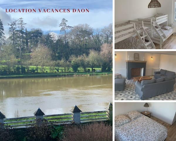 Daon : Maison avec vue unique sur la Mayenne