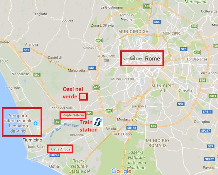 Mappa generale che mostra l'aeroporto, Ostia Antica, la casa e Roma con il Vaticano