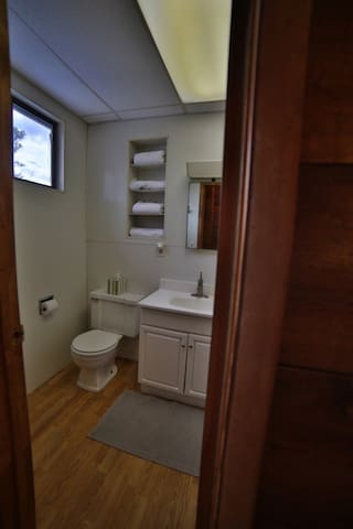 Upstairs bathroom shared by one other  bedroom