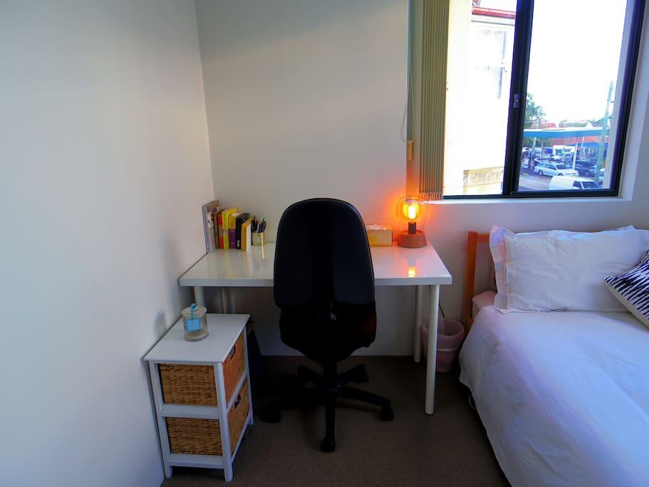 Desk workspace in bedroom