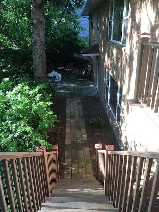 Enter your private apartment at the back of the house from a large, well-lit deck.
