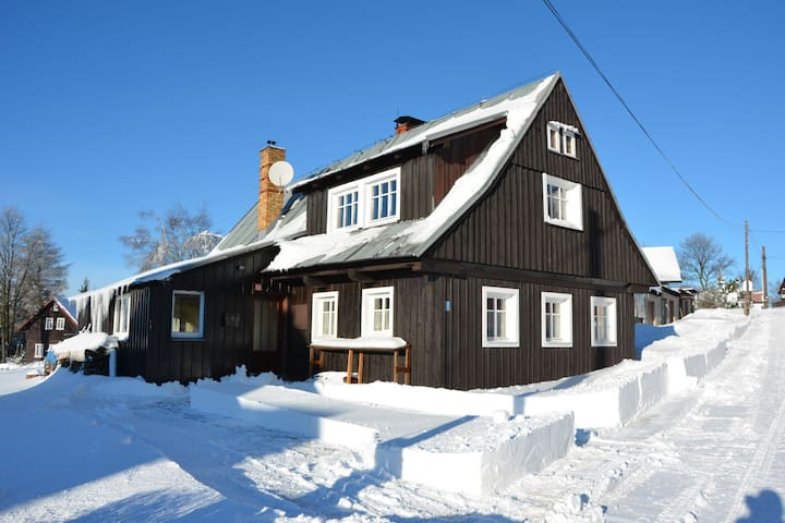 Authentic log cabin with fireplace. Only 300m to the ski slope, unobstructed view!