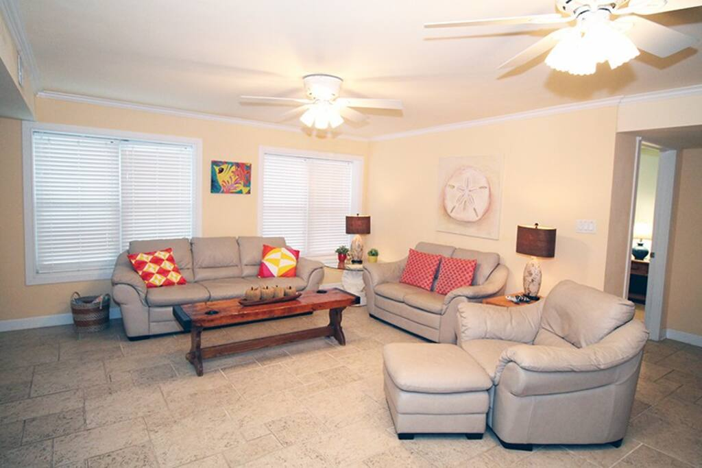 Comfortable Living Room with Queen Sleep Sofa and Large Flat Panel TV