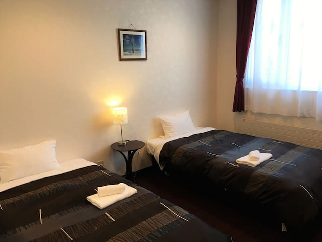 Double bed at FURANO, with Bath&Toilet