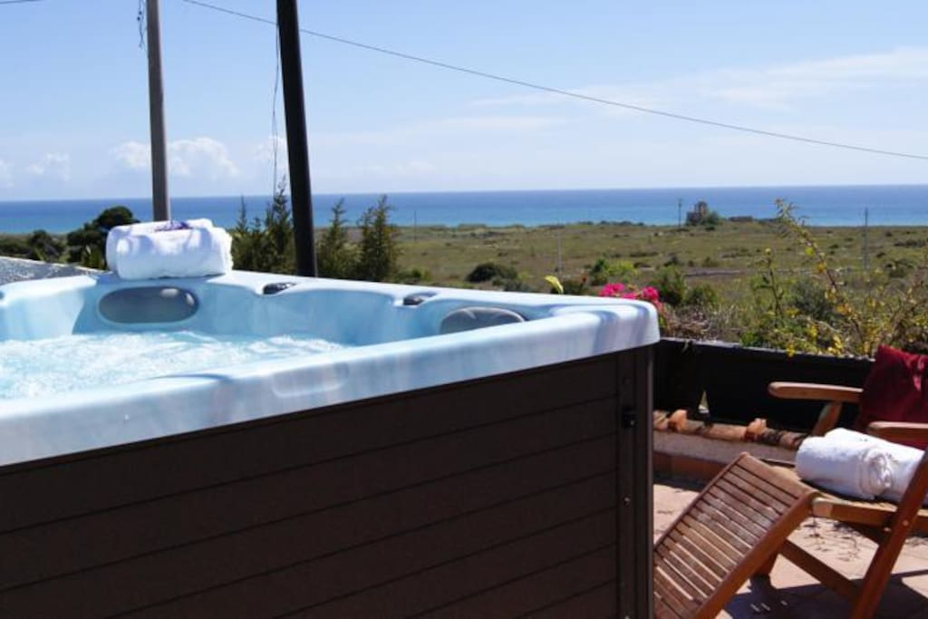 the hot tube in the terrace...