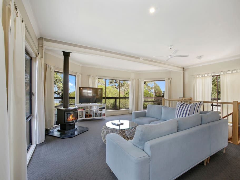large open plan living with foxtel, coonara, wifi and kids games