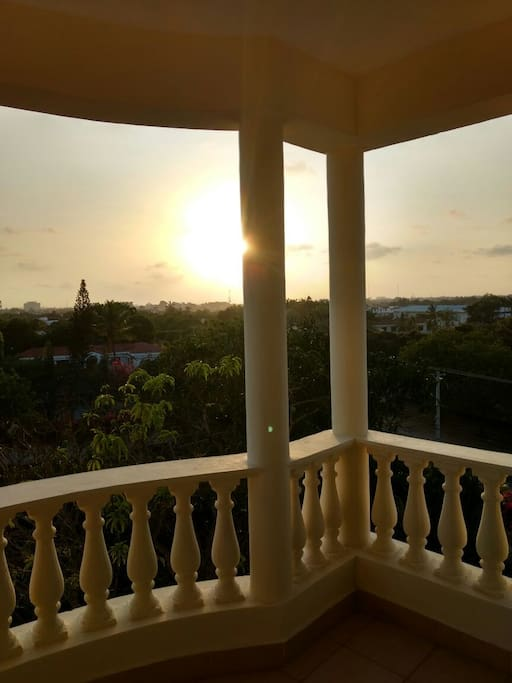 Sunset from the roomy balcony well above ground