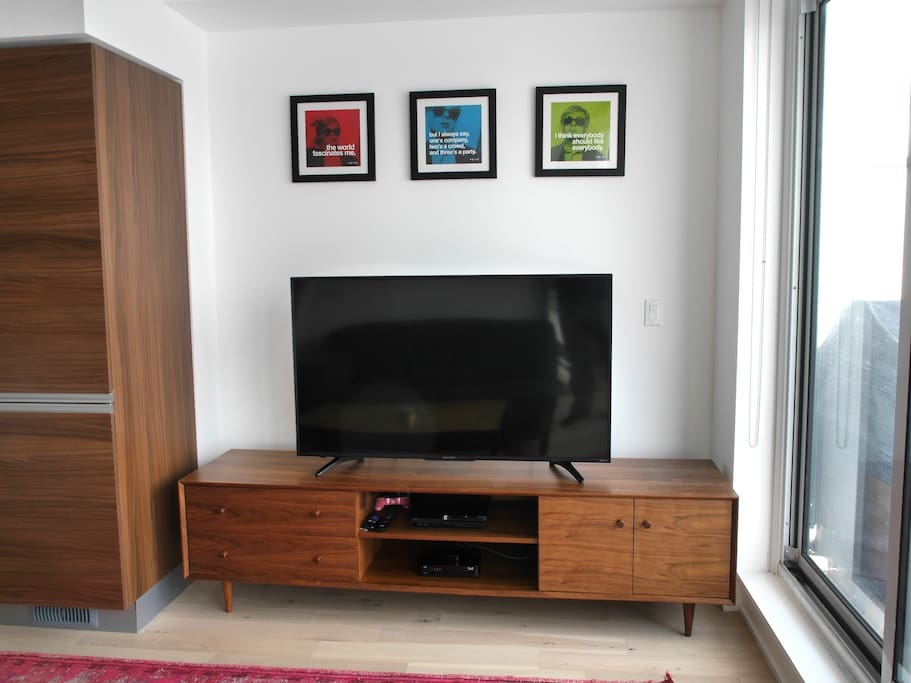 Large screen TV with cable