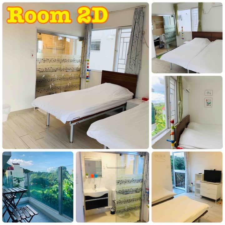 Twin bed room w/balcony 東涌鄉村舒適雙床露台房