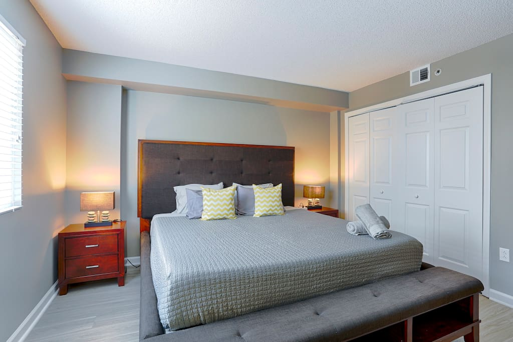 Treat yourself to an amazing sleep in the master bedroom King bed featuring an amazing memory foam mattress.