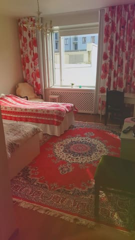 A colorful and nice room with two separate beds