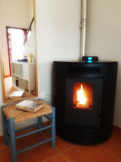 Bio-fuel stove in the living room, great for cooler evenings in spring & autumn!