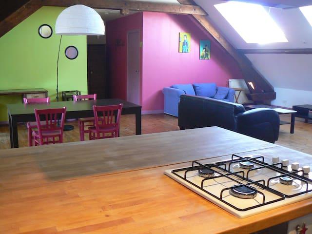 Grand appartement calme façon loft dans le centre