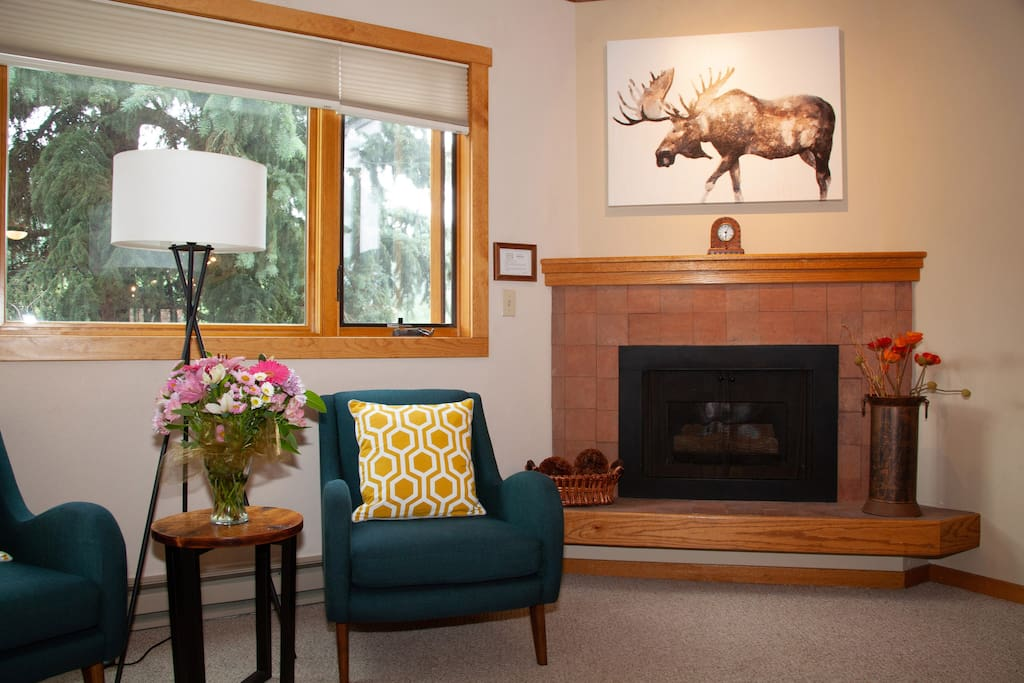 "Relax by the fire with ""Max"" the Moose!"