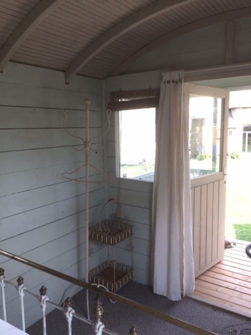 Looking out to the veranda