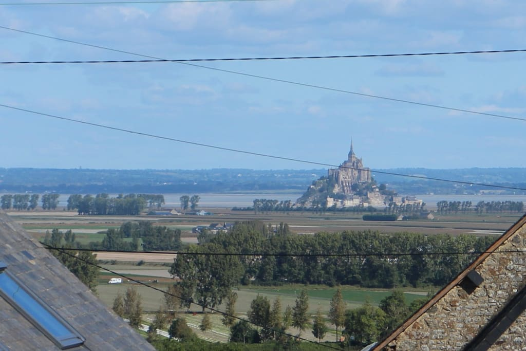 The view from the roof terrace.  Mont St Michel 8km away.