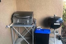 Propane and charcoal BBQs on front porch (propane and charcoal provided)