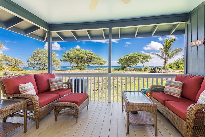 Hale Makai Beachfront Home, AC, Oceanfront on Anahola Bay, TVNC# 5065