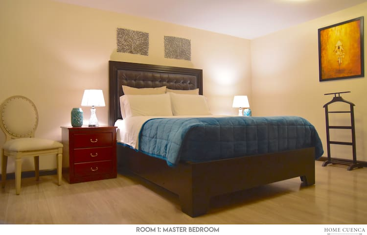 MASTER BEDROOM: elegant & cozy room. It is a large room that includes a queen bed, private bathroom, big closet, satellite TV, ample window, hair drying & iron machine.