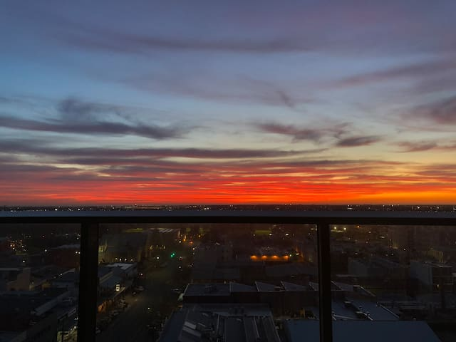 Heart of Adelaide with amazing sunset view