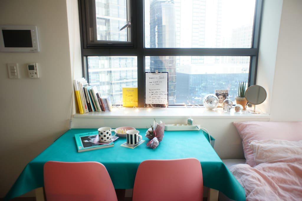Pink chair and Bluegreen table