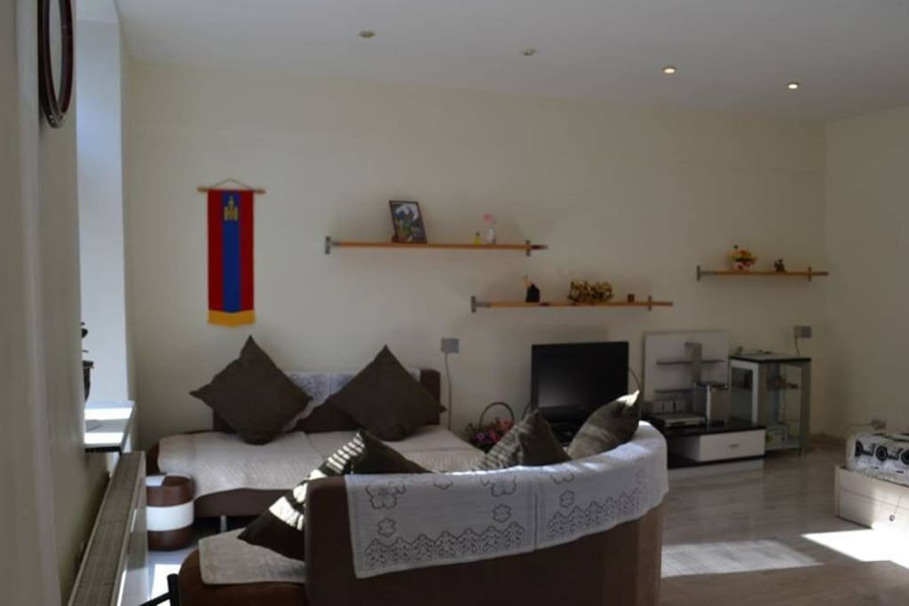cozy living area with balcony