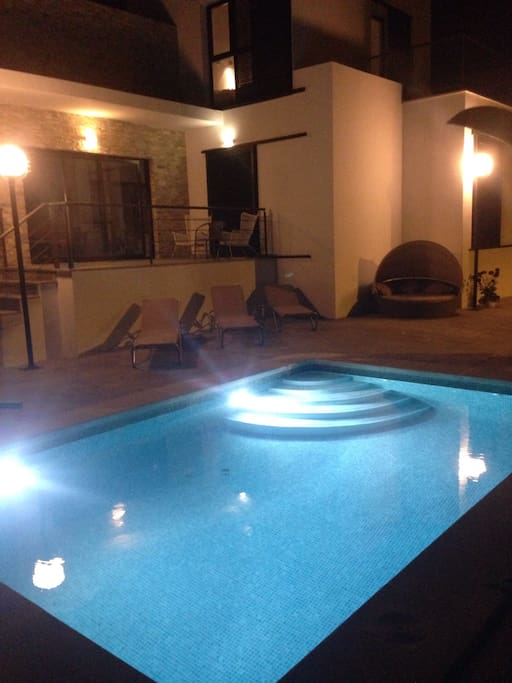 24 m2 private pool which is nice both day and night.