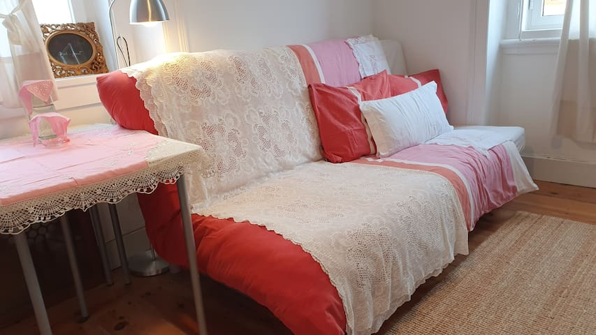 Guestroom | Family hand-embroidered linens and tablecloth | Traditional hand made family lace quilt
