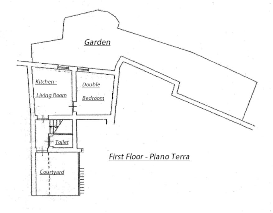 Pianta della Casa al piano terra.  || Map of the house first floor