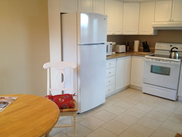 Large kitchen with eating area.