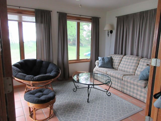 sunroom with queen sleeper sofa