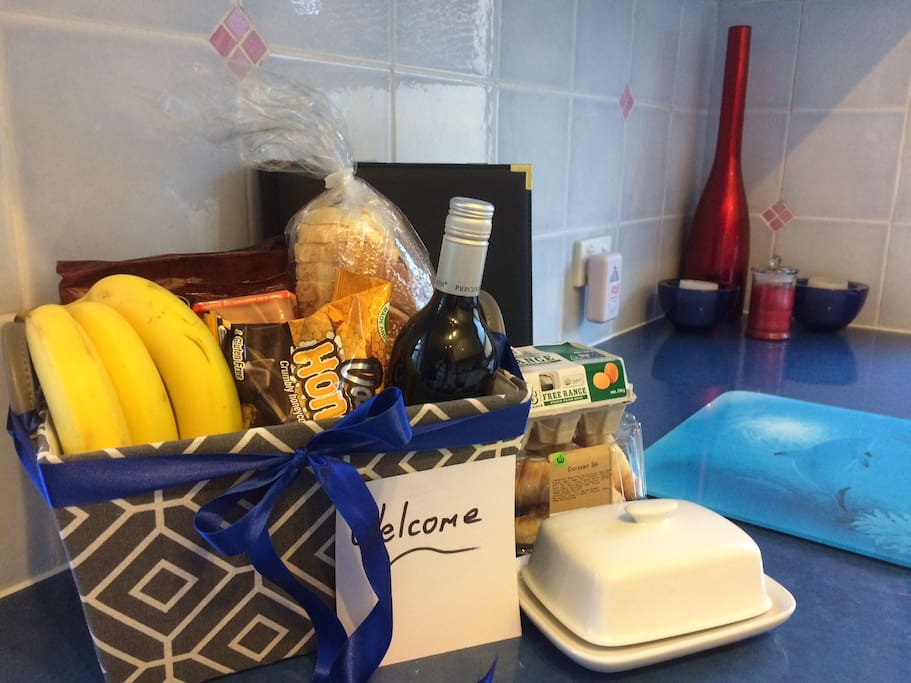 Example hamper for guests when they arrive for a long stay