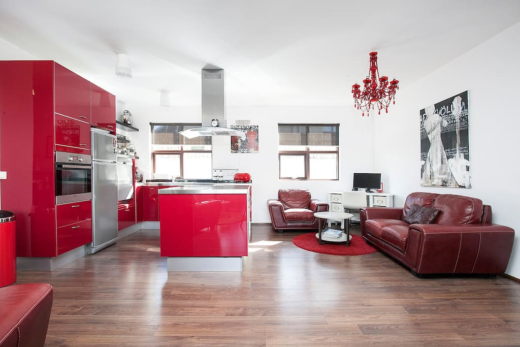 Spacious kitchen provides great opportunity for home cooking while in Iceland.
