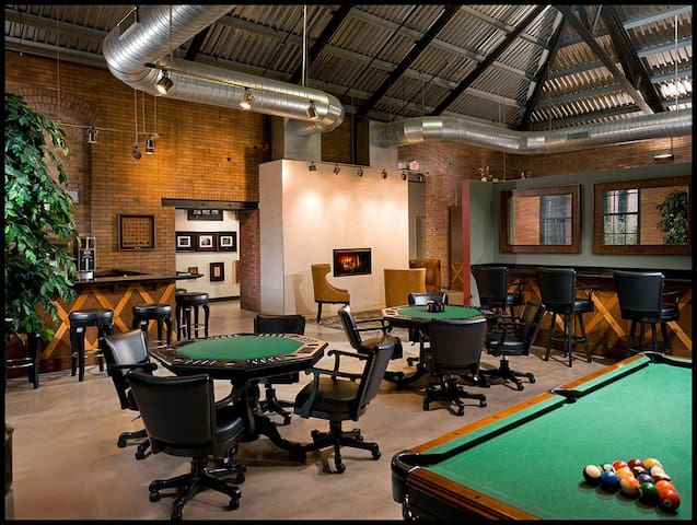 The lobby, pool table, sitting area.