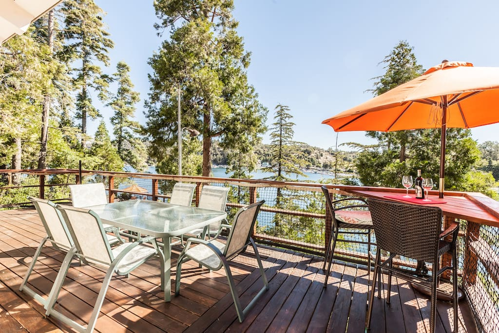 Incredible outdoor living space on multiple levels with panoramic views of Lake Arrowhead