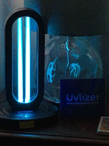 Keeping us all safe in this time of Covid 19 is a top priority. This is a ultraviolet light and Ozone machine to further sanitize the room and bathroom. Rest assured that your space is clean and sanitized.
