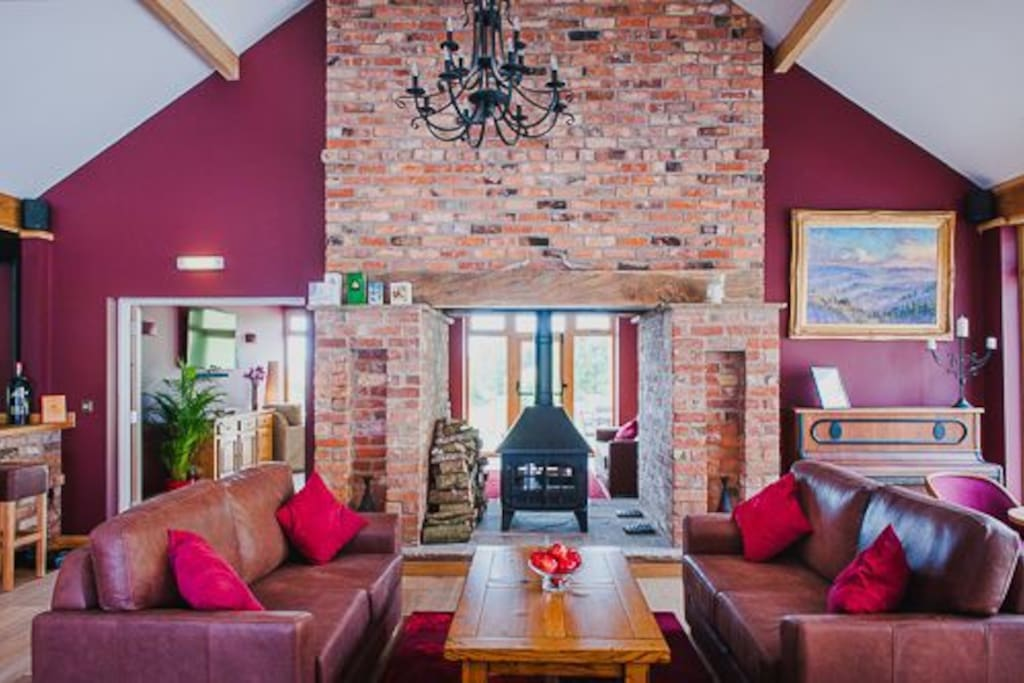 Bringewood main lounge and log burner
