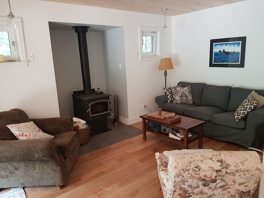 Cosy living room with wood stove
