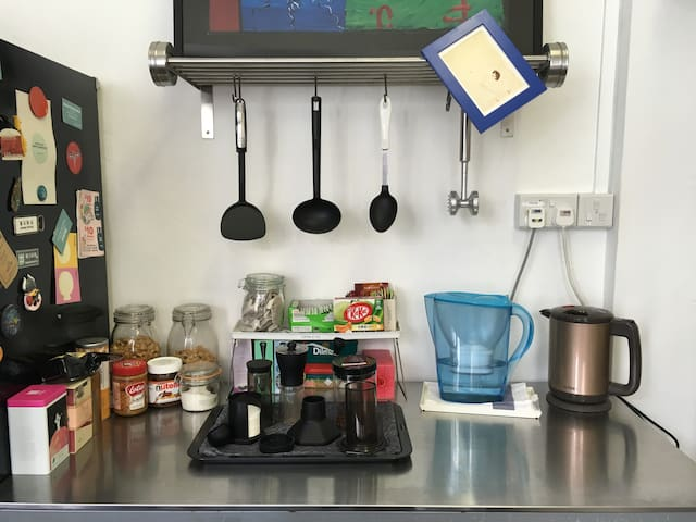 The cafe corner in the kitchen, complete with aeropress, matcha, etc.