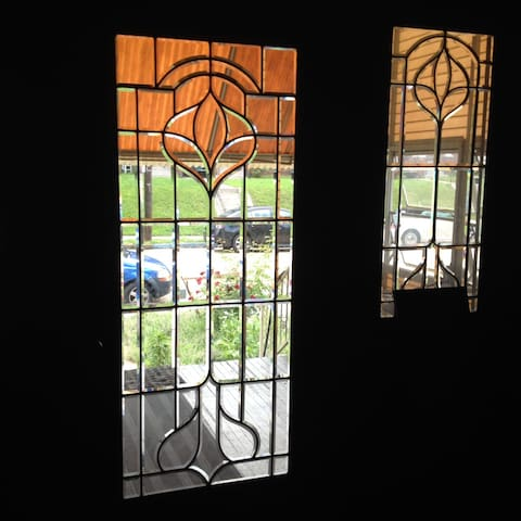 Original Lead Glass Doors