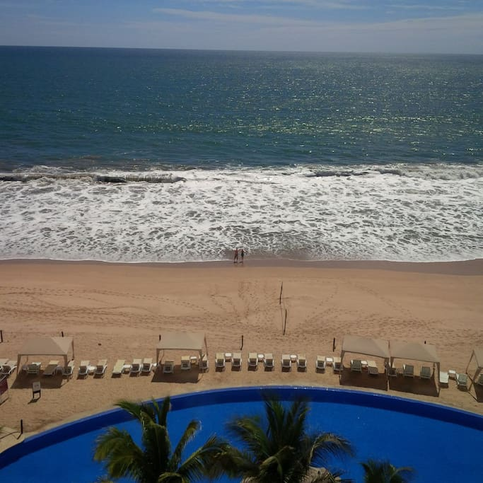 View from the window.  Infinity Pool on lovely Cerritos Beach
