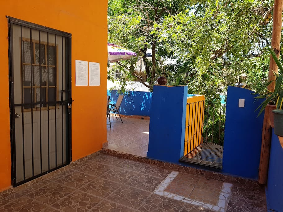 Entrance of the studio and terrace, right at the end of the stairs.