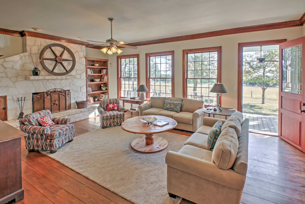 It's hard to beat a beautiful room like this with a wood burning fireplace and stunning views.