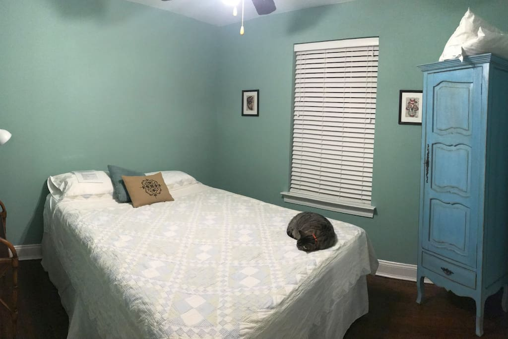 Room with queen bed & cabinet storage (cat not included:)