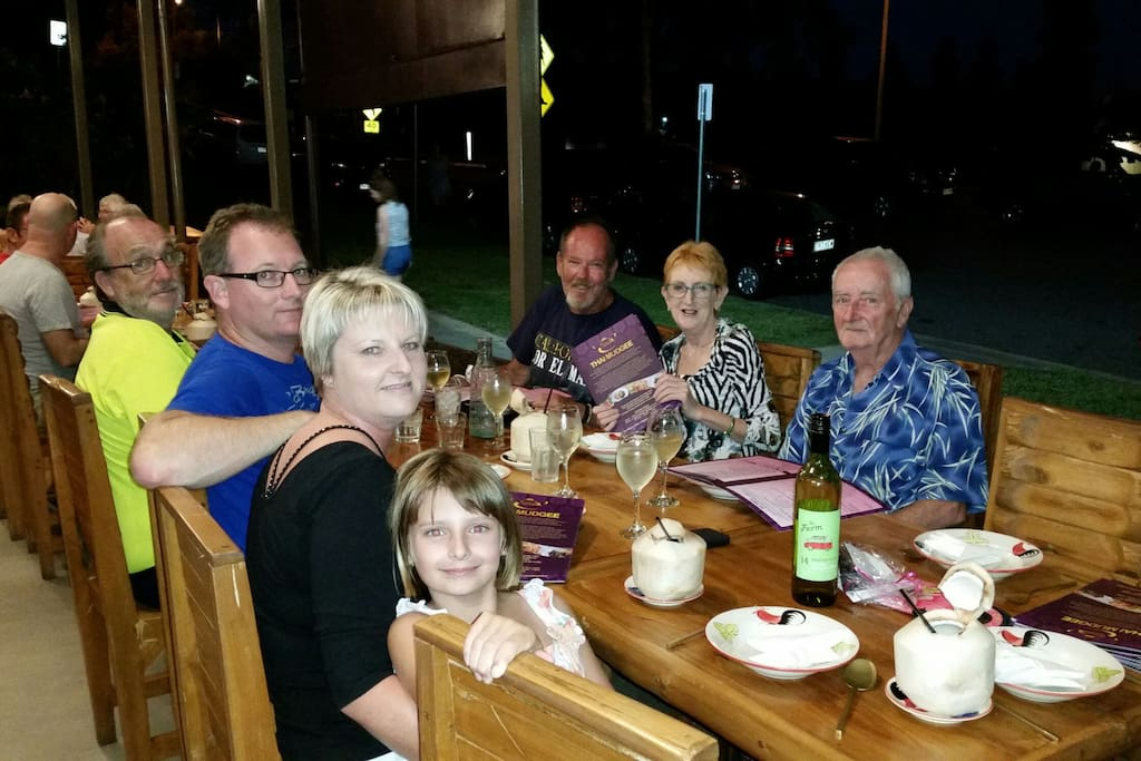 Friends having dinner at  local thai mudgee Only 10 minutes away