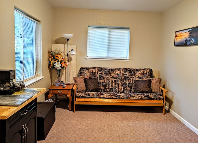 Queen futon in sitting area with ottoman to relax and watch TV or read a book.
