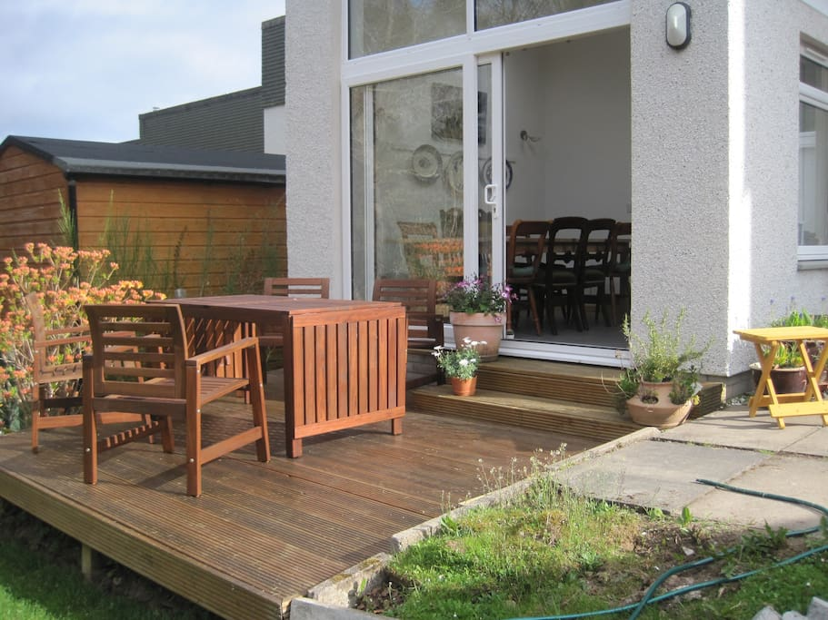 the south facing decking and garden furniture