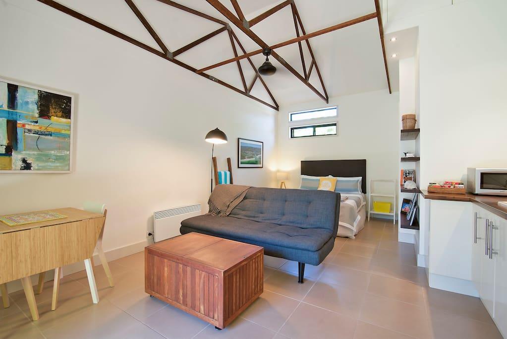 High ceilings; exposed rafters
