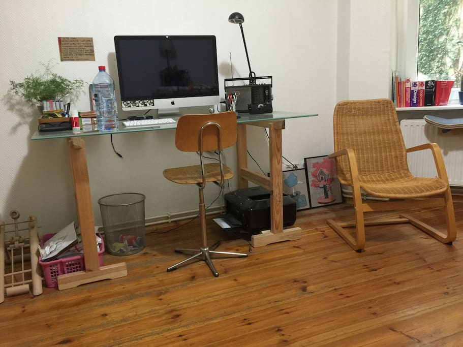 Comfortable desk with vintage school chair. The room contains free wifi.