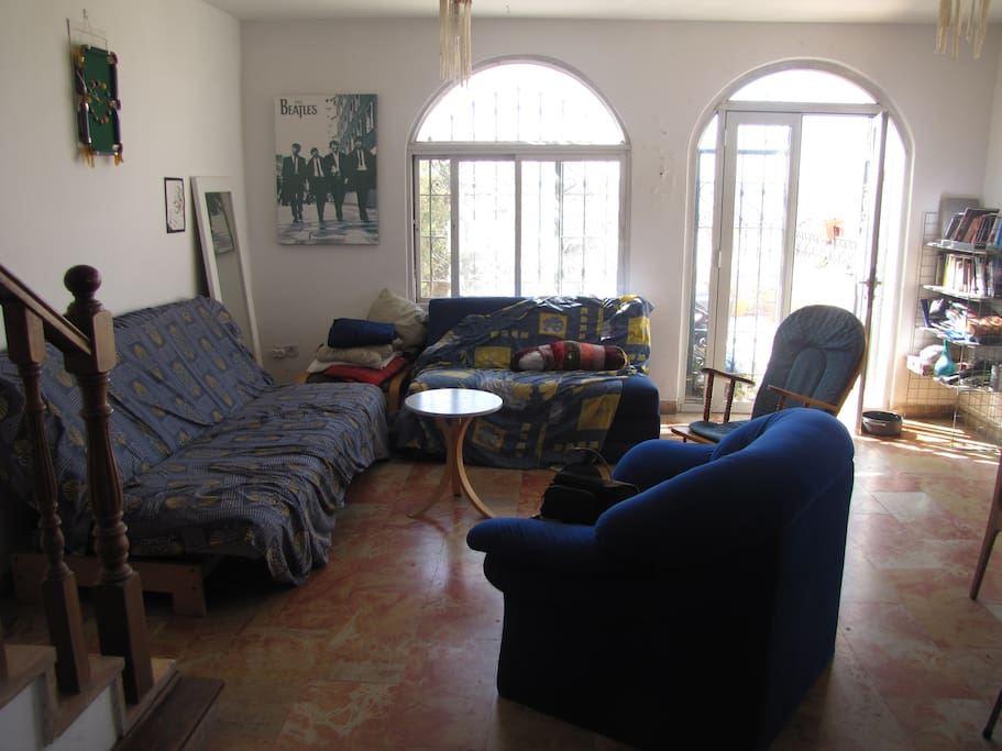 the spacious living room, shared area